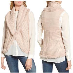love token / knit rabbit fur trimmed vest sweater